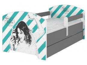 Dětská postel disney violetta x šedá 180x80cm