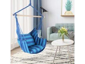 Závěsné houpací křeslo s polštáři 100x120 cm - modré