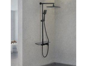 Sprchová souprava Fenrir černá s policí a výtokem do vany