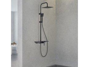 Sprchová souprava LOGE černá s policí a výtokem do vany
