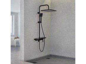 Sprchová souprava KALE s policí a výtokem do vany černá