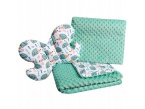 Dětská deka s polštářem do kočárku + polštářek motýlek MINKY, vzor 802