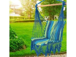 Závěsné houpací křeslo s polštáři 100x100 cm - modrá/zelená 2