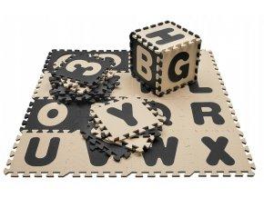 Pěnové puzzle ABECEDA A ČÍSLA 36 ks 180x180x1 cm černobéžová