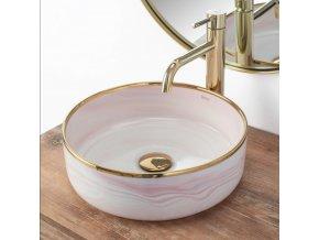 Keramické umyvadlo MERIDA - růžovo/zlaté