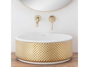 Keramické umyvadlo HELEN - zlaté/bílé