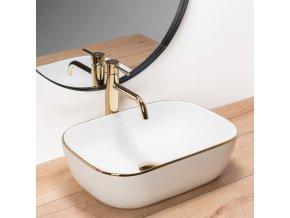 Keramické umyvadlo BELINDA bílé/zlaté