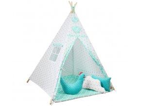 Dětský stan TEEPEE (TÝPÍ) hvězdičky + doplňky XL, vzor 782