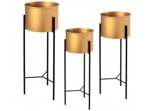 Sada (3) květináče ocelovy zlato-černé