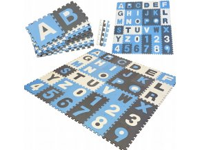 Pěnové puzzle ABECEDA A ČÍSLA 36 ks 180x180x1 cm tmavě modrá