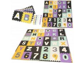Pěnové puzzle ABECEDA A ČÍSLA 36 ks 180x180x1 cm mix barev 1