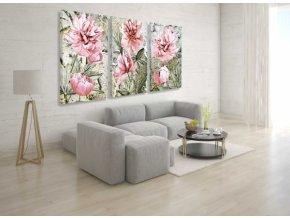 Třídílný obraz na plátně  květiny, vzor 20200