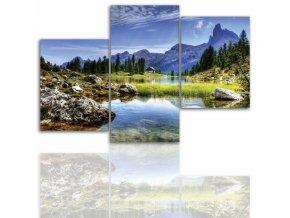 Třídílný obraz na plátně hory, vzor 12003