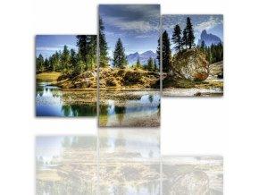 Třídílný obraz na plátně hory, vzor 12001