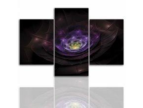 Třídílný obraz na plátně fialový, vzor 12255