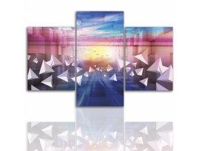 Třídílný obraz na plátně barevná abstrakce, vzor 12236