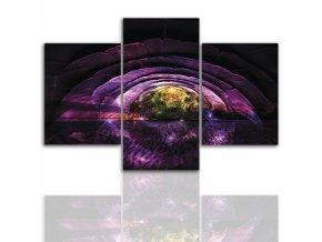 Třídílný obraz na plátně fialový ostrov, vzor 12235