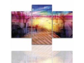 Třídílný obraz na plátně barevná abstrakce, vzor 12233