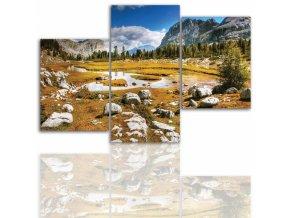 Třídílný obraz na plátně hory, vzor 12004
