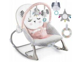 Vibrační lehátko – houpátko – židlička 3v1 pro děti od narození do 18 kg - králíček - prášek růžový