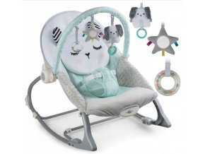 Vibrační lehátko – houpátko – židlička 3v1 pro děti od narození do 18 kg - králíček - mátový
