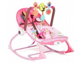 Vibrační lehátko – houpátko – židlička 3v1 pro děti od narození do 18 kg - pták na stromě - růžový