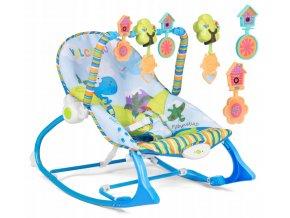 Vibrační lehátko – houpátko – židlička 3v1 pro děti od narození do 18 kg - dinosauři - blankytný