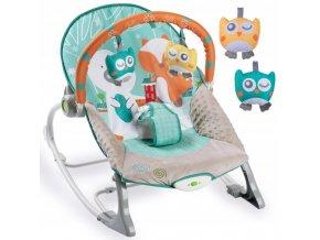 Vibrační lehátko – houpátko – židlička 3v1 pro děti od narození do 18 kg - medvídek a sovy - mátový