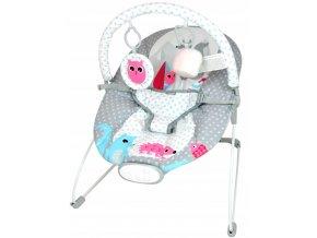 Vibrační lehátko – houpátko  – židlička pro děti od narození do 9 kg - zvířátka - šedý