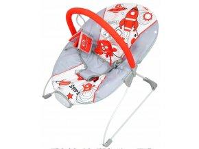 Vibrační lehátko – houpátko  – židlička pro děti od narození do 9 kg - stars - šedý
