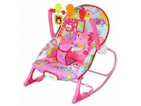 Vibrační lehátko – houpátko  – židlička pro děti od narození do 14 kg - slon - růžový