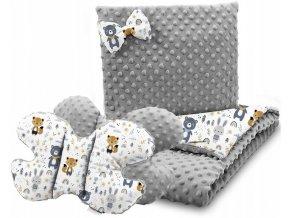 Dětská deka s polštářem do kočárku + polštářek motýlek MINKY, vzor 760