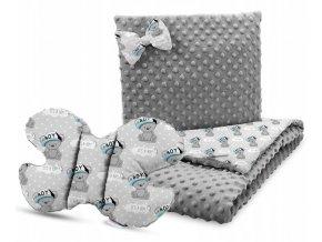 Dětská deka s polštářem do kočárku + polštářek motýlek MINKY, vzor 738