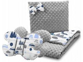 Dětská deka s polštářem do kočárku + polštářek motýlek MINKY, vzor 733