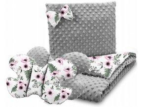 Dětská deka s polštářem do kočárku + polštářek motýlek MINKY, vzor 750