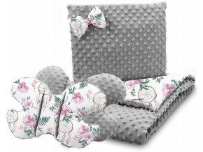 Dětská deka s polštářem do kočárku + polštářek motýlek MINKY, vzor 759
