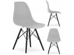 Designová židle MASSIMO BLACK světle šedá