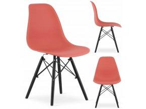 Designová židle MASSIMO BLACK tmavě lososová