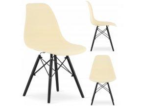 Designová židle MASSIMO BLACK krémová