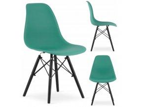 Designová židle MASSIMO BLACK zelená