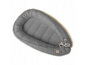 Oboustranné bavlněné hnízdečko - kokon pro miminko, šedá