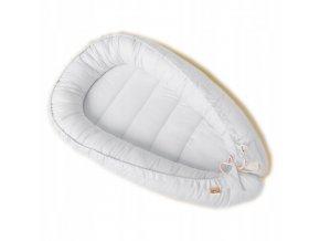 Oboustranné bavlněné hnízdečko - kokon pro miminko, bílá