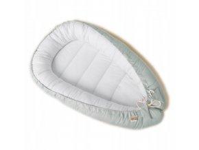 Oboustranné bavlněné hnízdečko - kokon pro miminko, bílo-světlešedá
