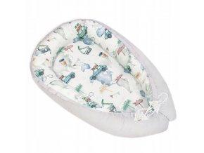 Oboustranné bavlněné hnízdečko - kokon pro miminko, auta