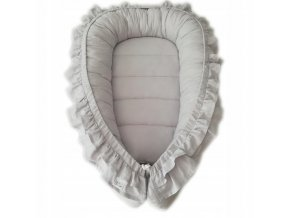 Oboustranné bavlněné hnízdečko - kokon pro miminko s volánkem, světlešedá