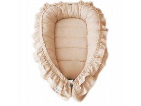 Oboustranné bavlněné hnízdečko - kokon pro miminko s volánkem, béžová