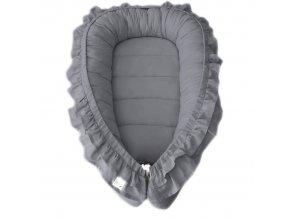 Oboustranné bavlněné hnízdečko - kokon pro miminko s volánkem, šedá