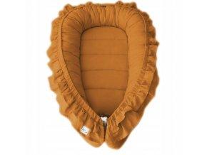 Oboustranné bavlněné hnízdečko - kokon pro miminko s volánkem, horčicová
