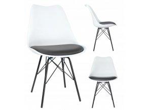 Designová židle ARES 4ks bílá/černá