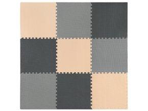Pěnový koberec MAXI 9 ks 180x180x1 cm šedo-grafitovo-krémová